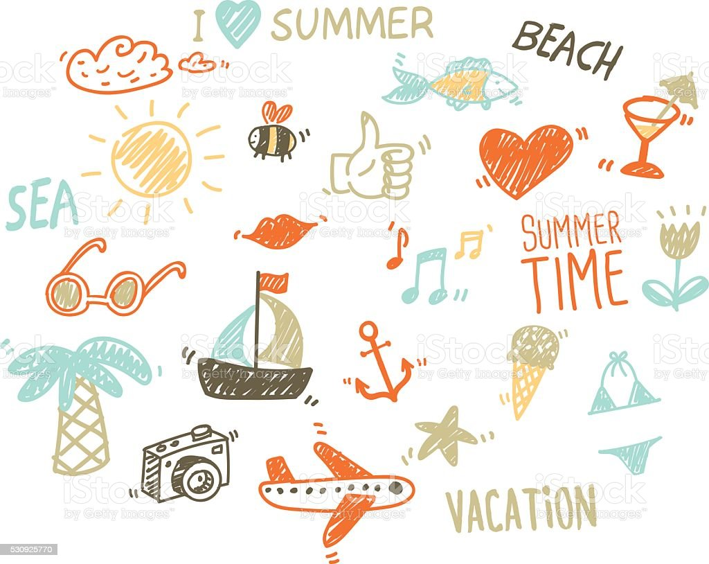 Vector collection of summer elements in sketch style vector art illustration