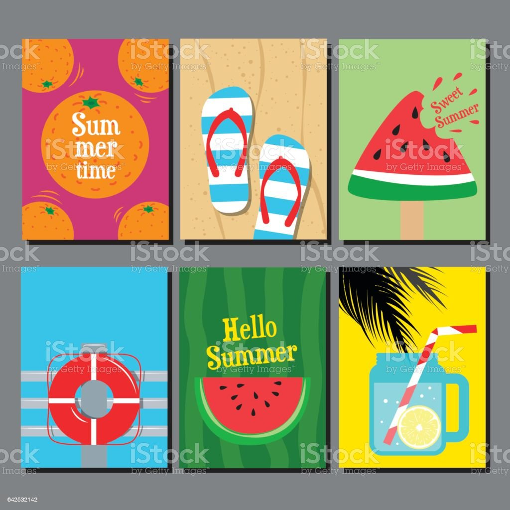 Vector collection of summer, sea,sand, water, poster, card, banner, flat design, template background. vector art illustration