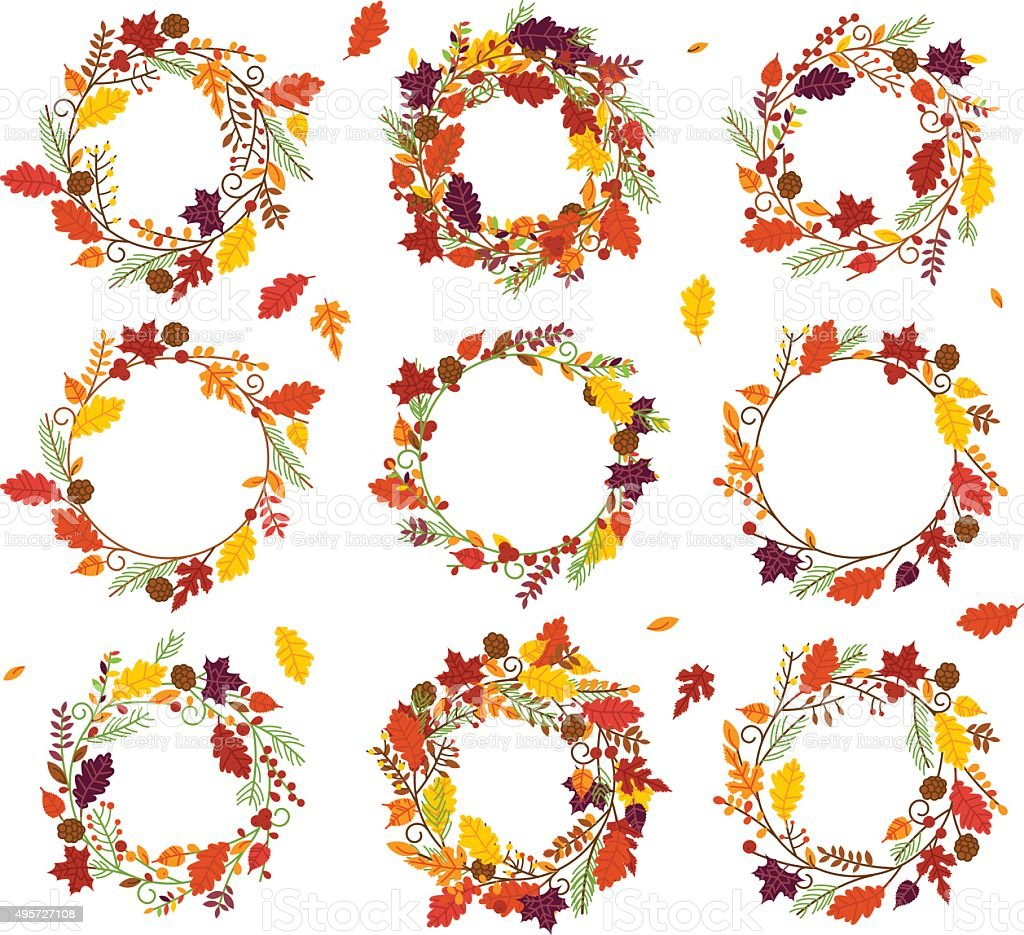 Vector Collection of Thanksgiving, Autumn or Fall Themed Wreaths vector art illustration