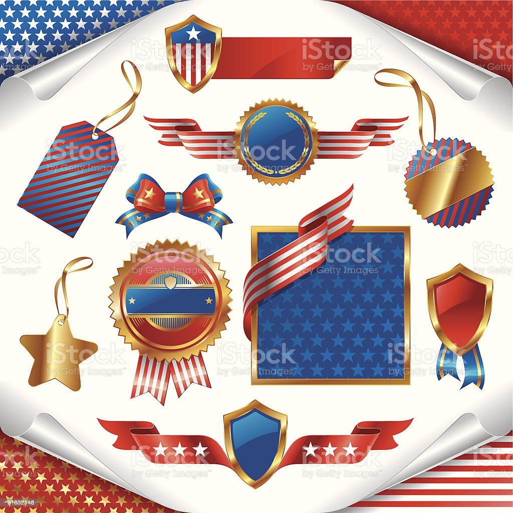 Vector collection of usa patriotic signs, labels, tags  and emblem royalty-free stock vector art