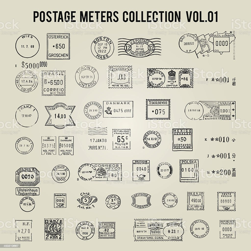 vector collection of vintage postage stamps royalty-free stock vector art