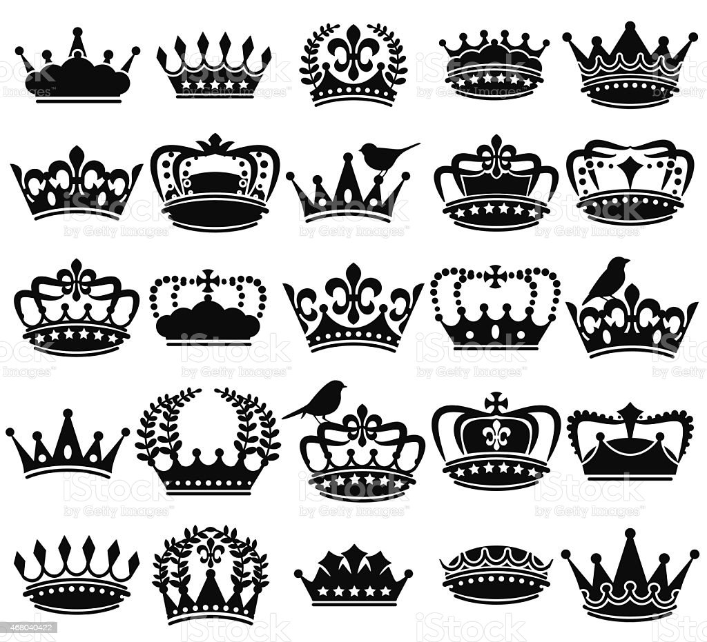 Vector Collection of Vintage Style Crown Silhouettes vector art illustration