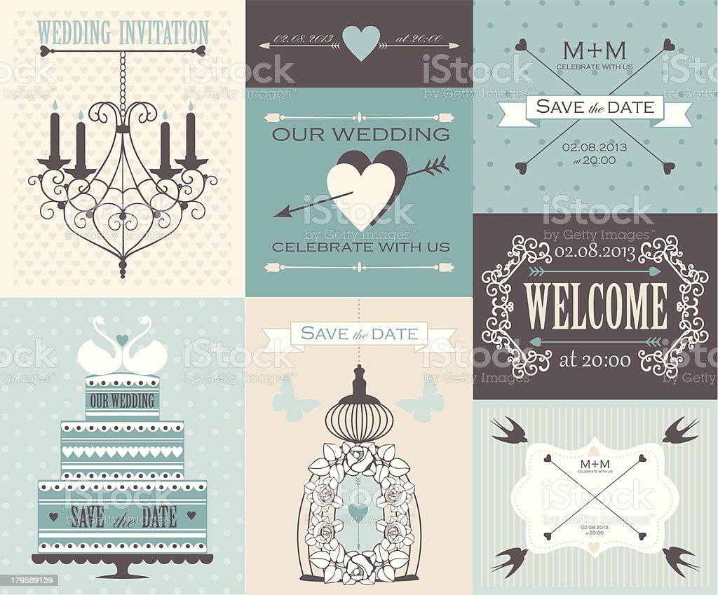 Vector collection of vintage wedding cards. royalty-free stock vector art