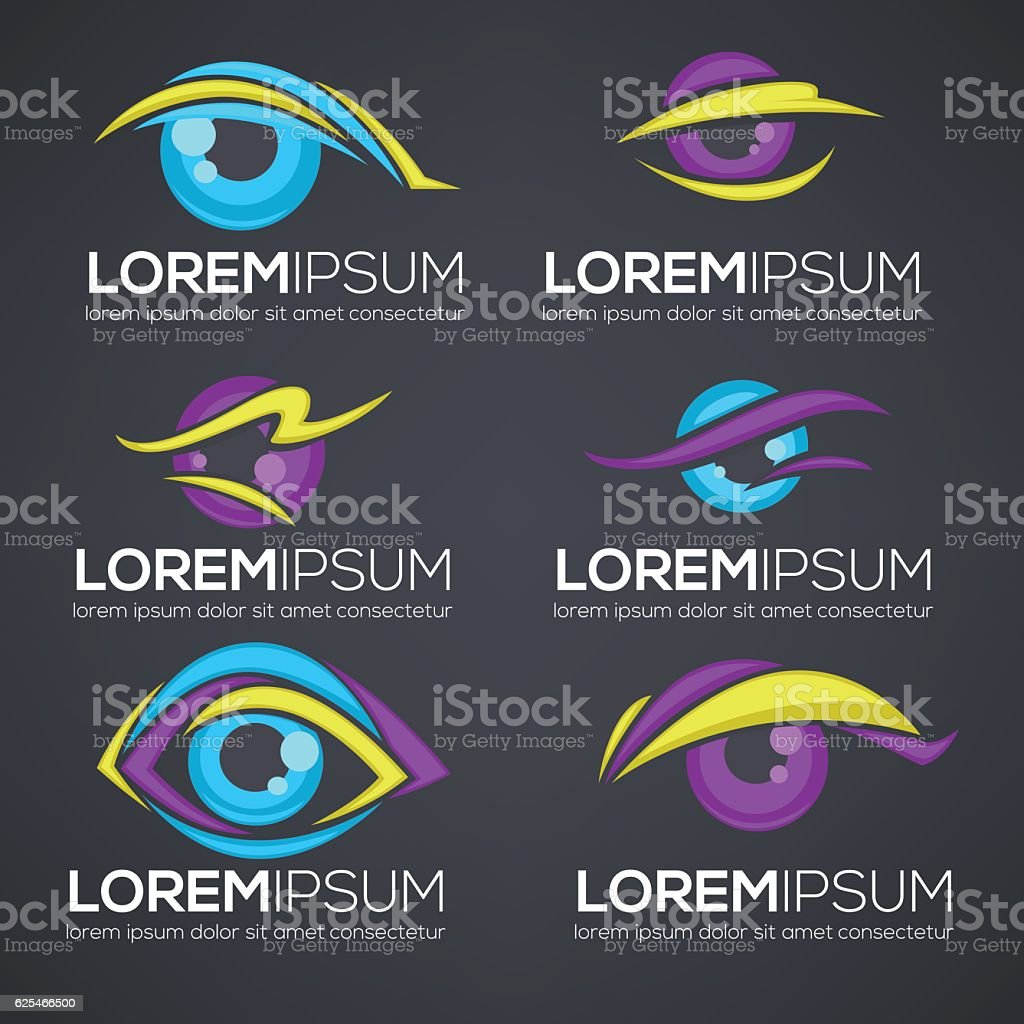 vector collection of vision and eyes  symbols and icons vector art illustration