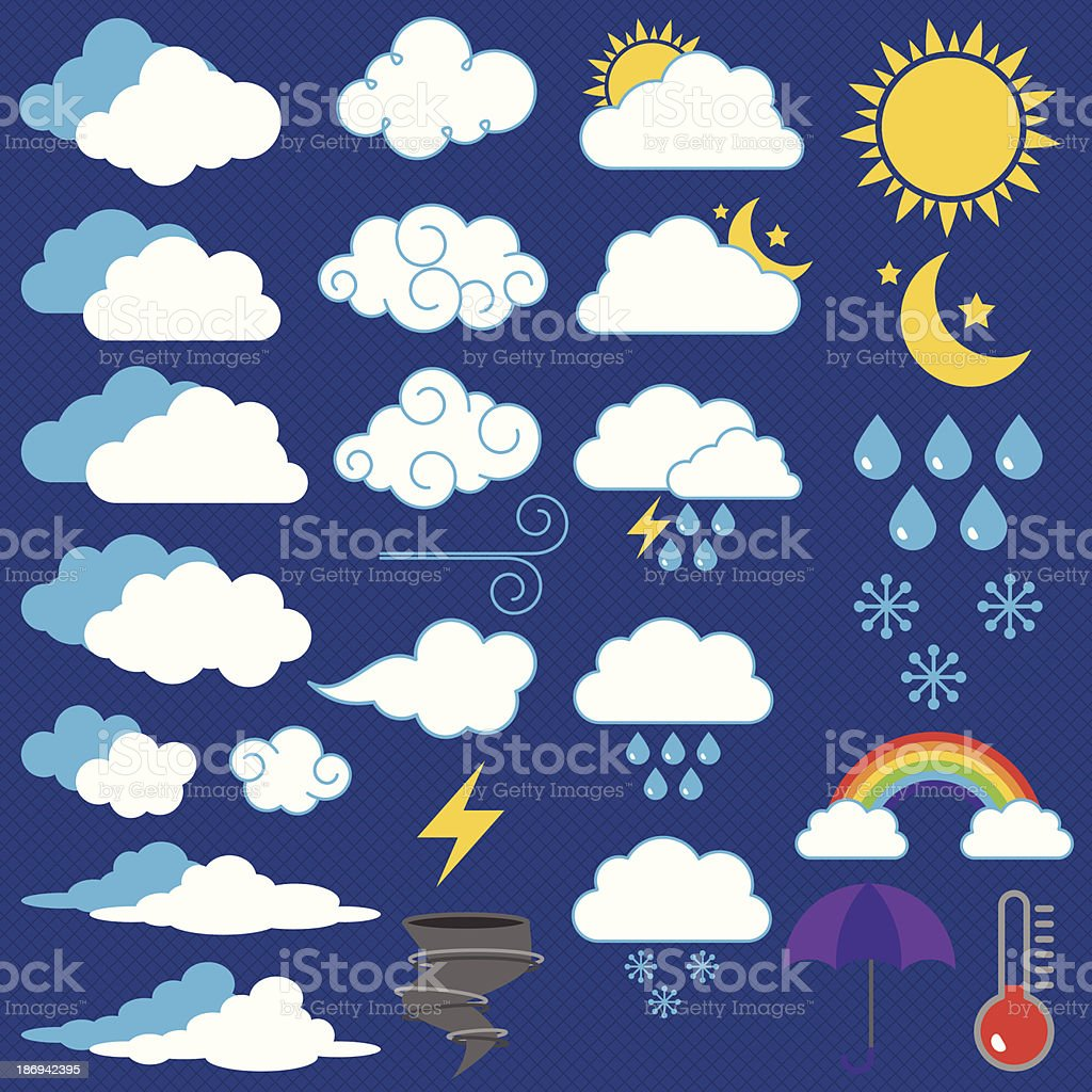 Vector Collection of Weather Icons and Symbols vector art illustration