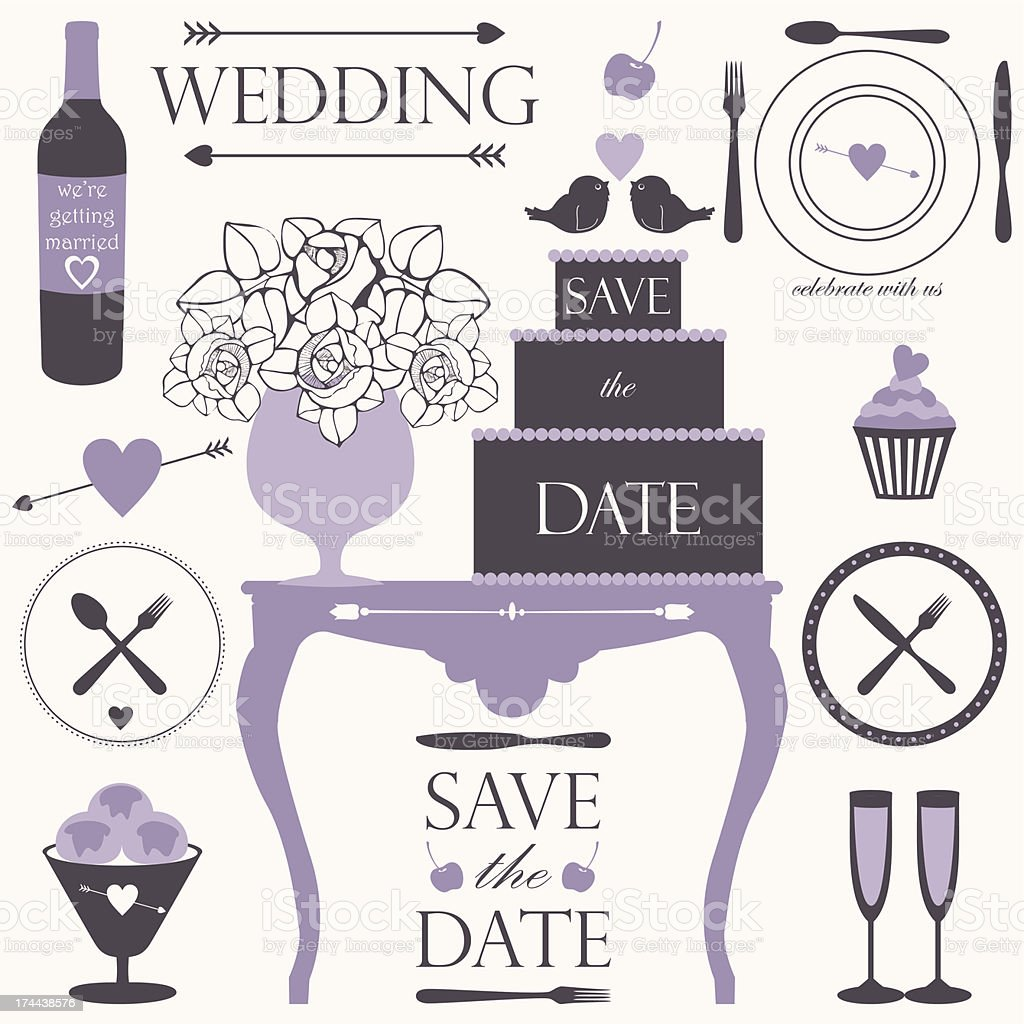 Vector collection of  wedding and dinner elements  in lavender colors royalty-free stock vector art
