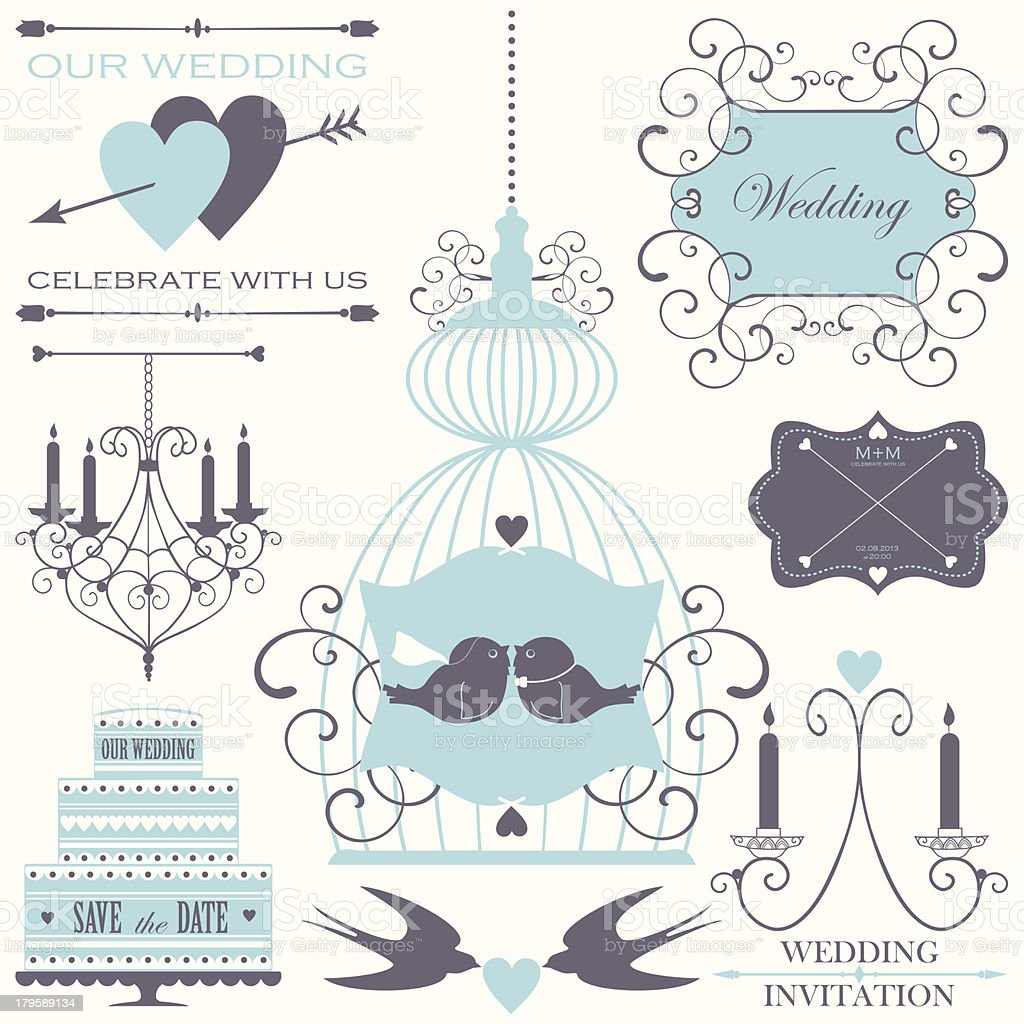 Vector collection of wedding design elements royalty-free stock vector art