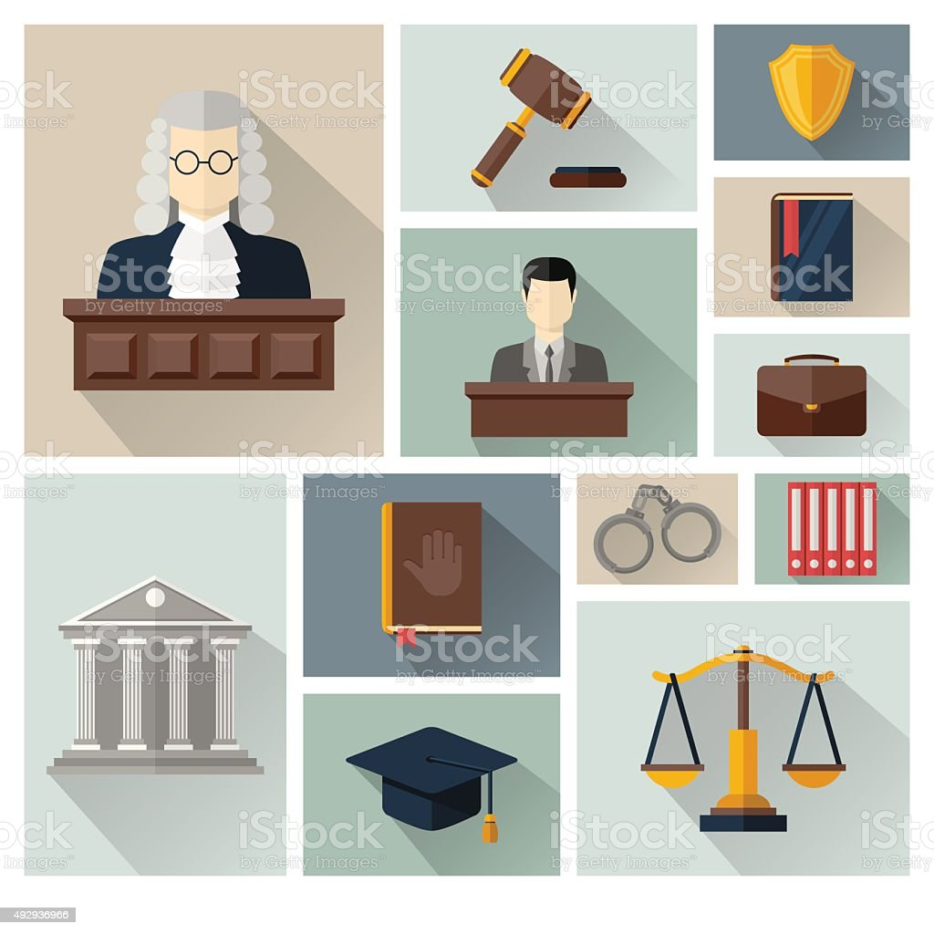 Vector collection or set of law and justice icons vector art illustration