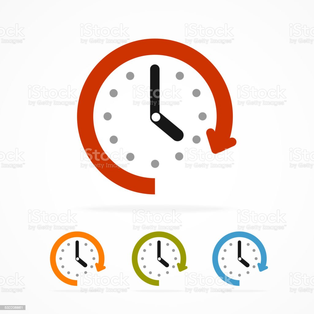 Vector color clock icon. vector art illustration