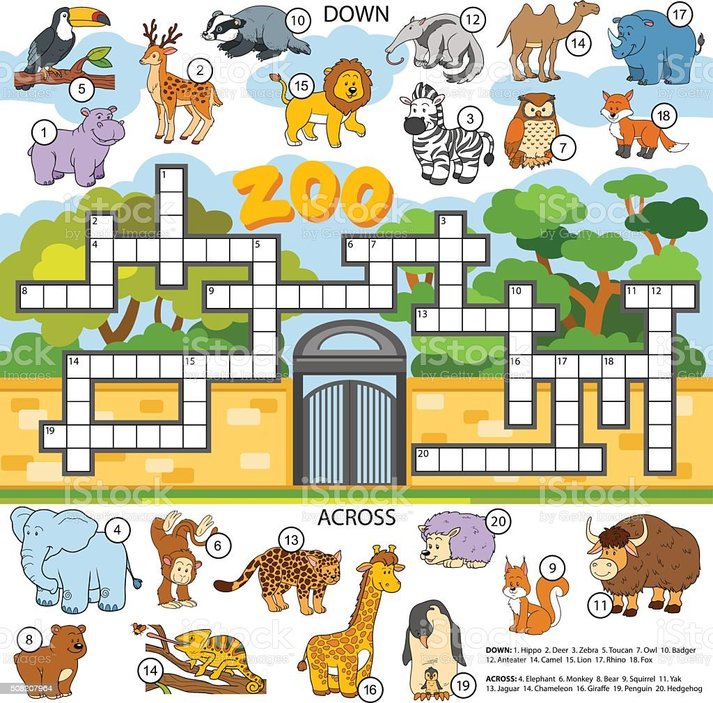 Game with shapes of different colors crossword - Vector Color Crossword About Animals Royalty Free Stock Vector Art