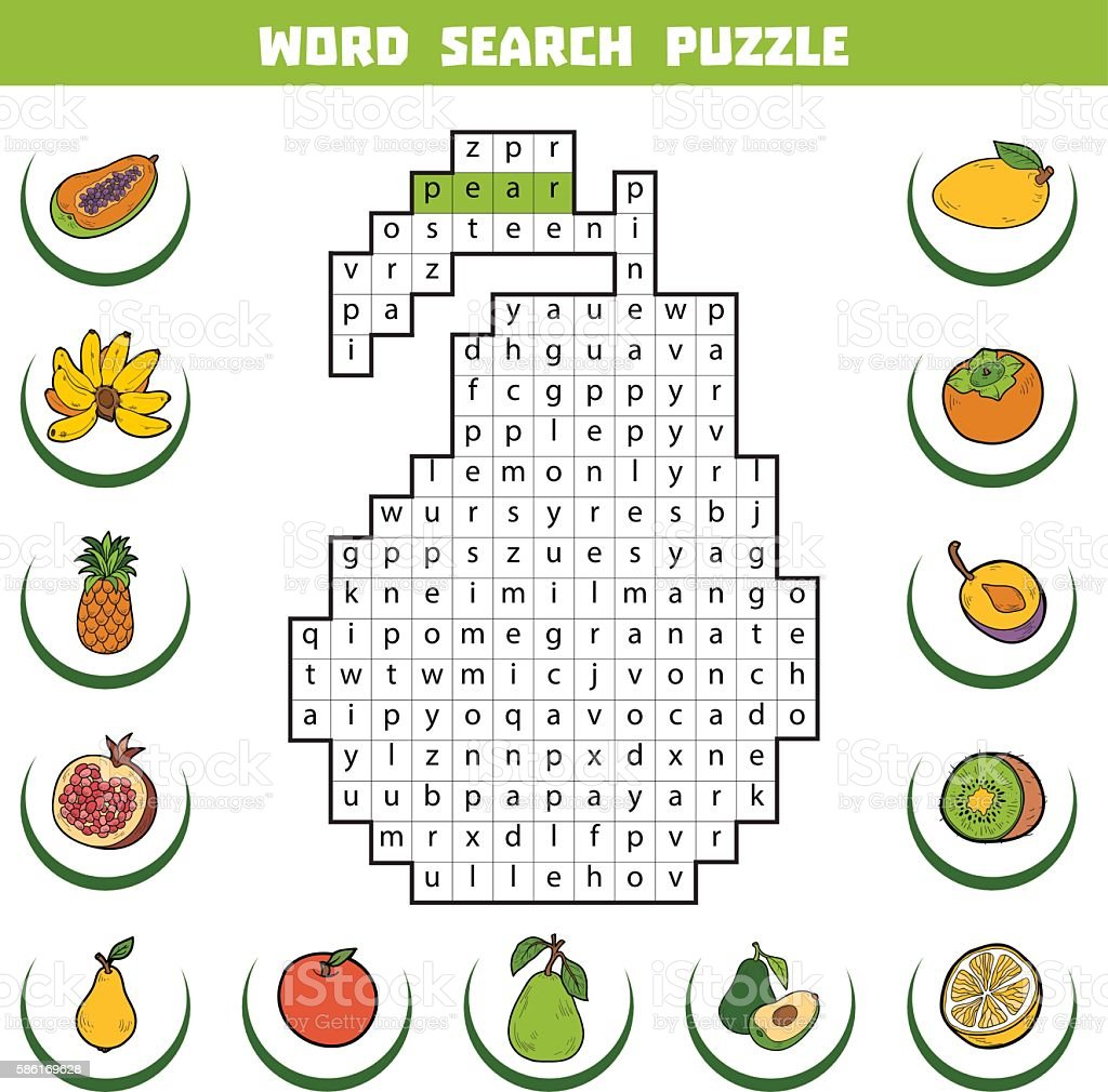 Game with shapes of different colors crossword - Vector Color Crossword About Fruits Word Search Puzzle