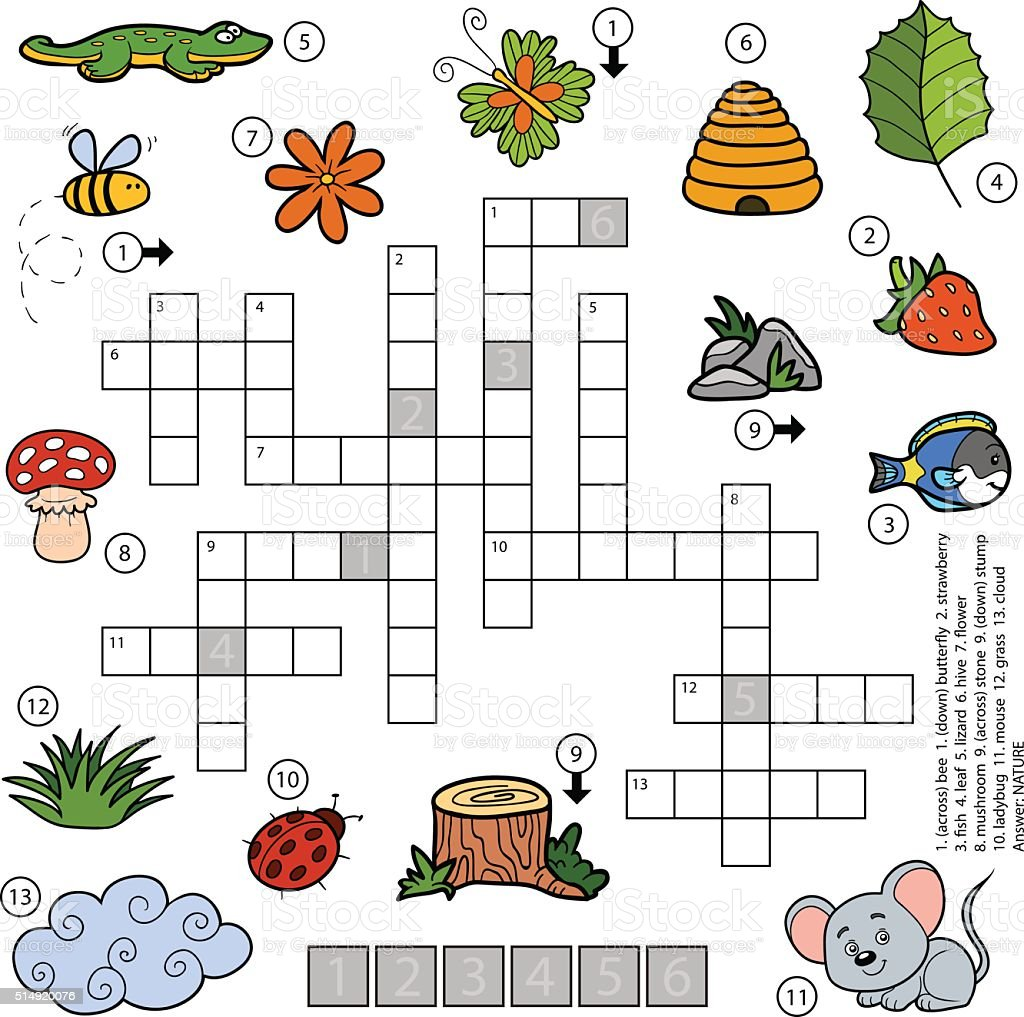 Game with shapes of different colors crossword - Vector Color Crossword For Children About Nature Royalty Free Stock Vector Art