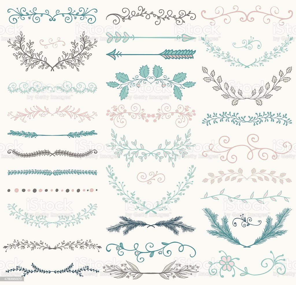 Vector Color Hand Drawn Dividers, Branches, Swirls vector art illustration