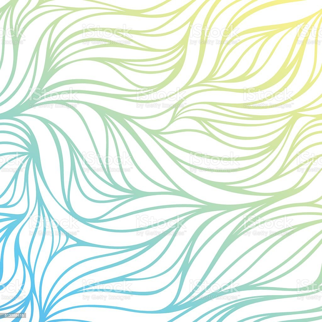 Vector color hand-drawing wave sea background. vector art illustration