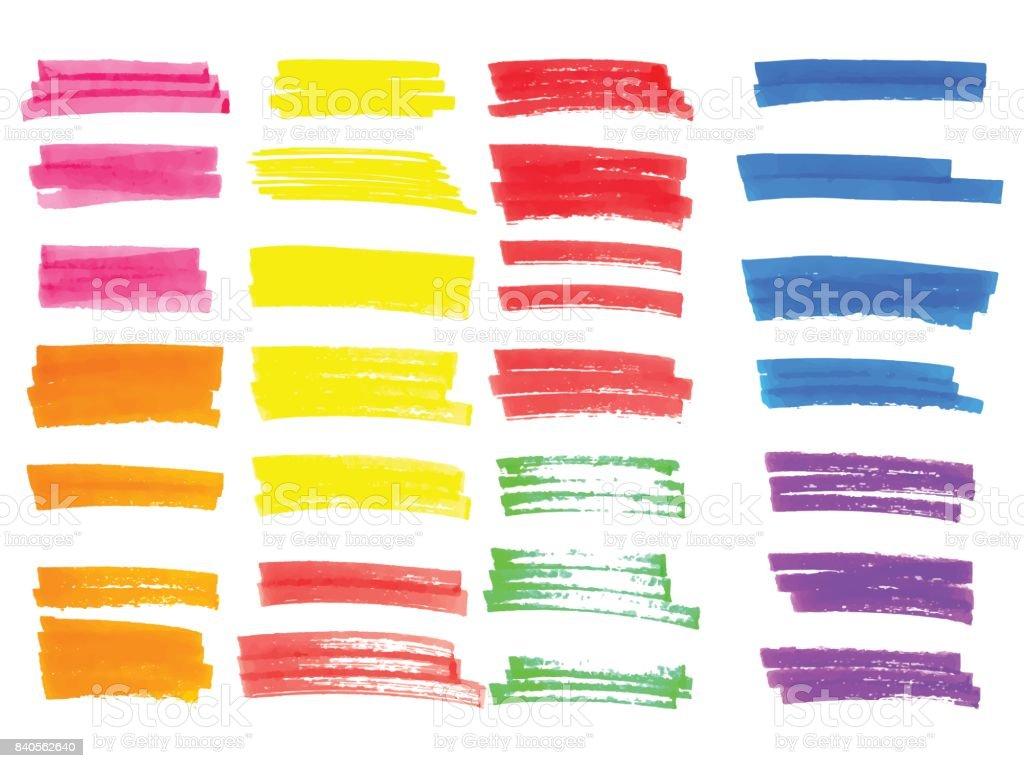 Vector color highlighter brush lines. Hand drawing. vector art illustration