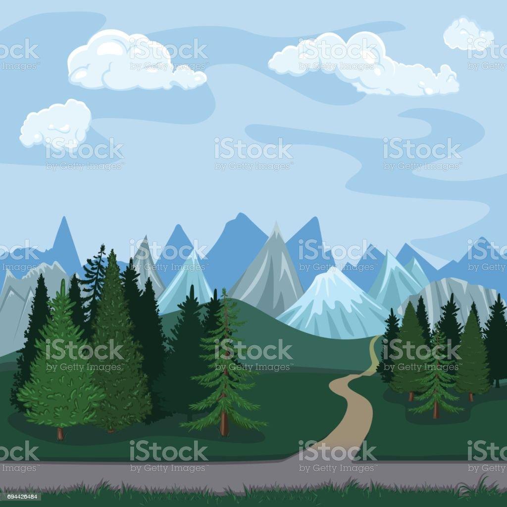 Vector Color Illustration - Natural Landscape. vector art illustration