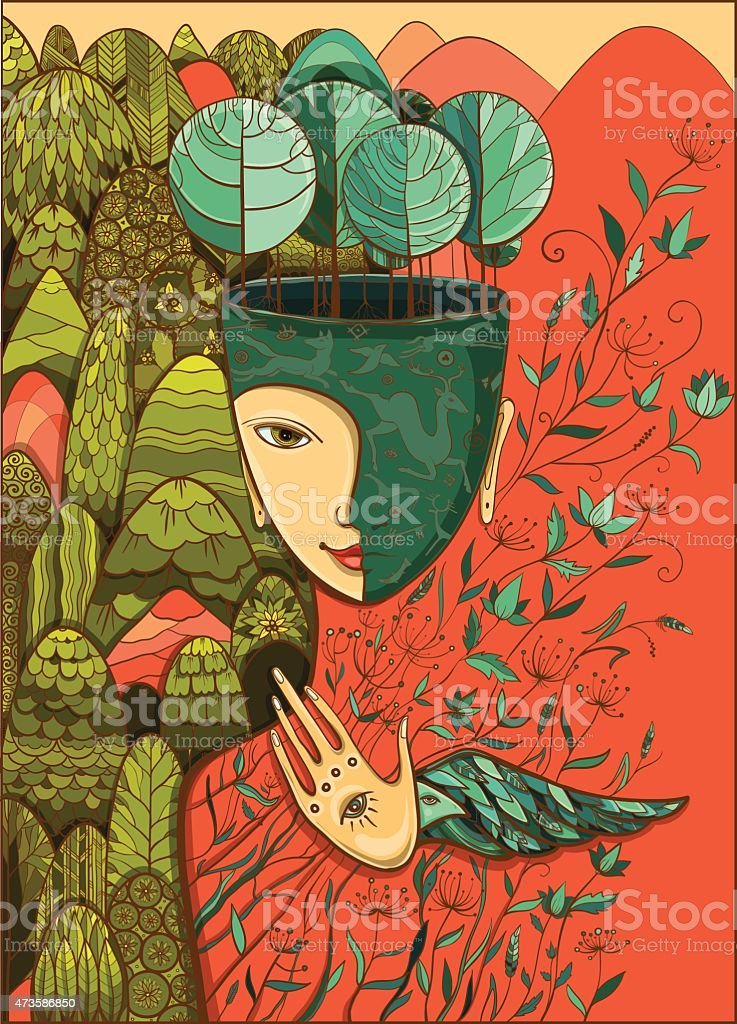 Vector color illustration of the goddess of Mother Nature vector art illustration