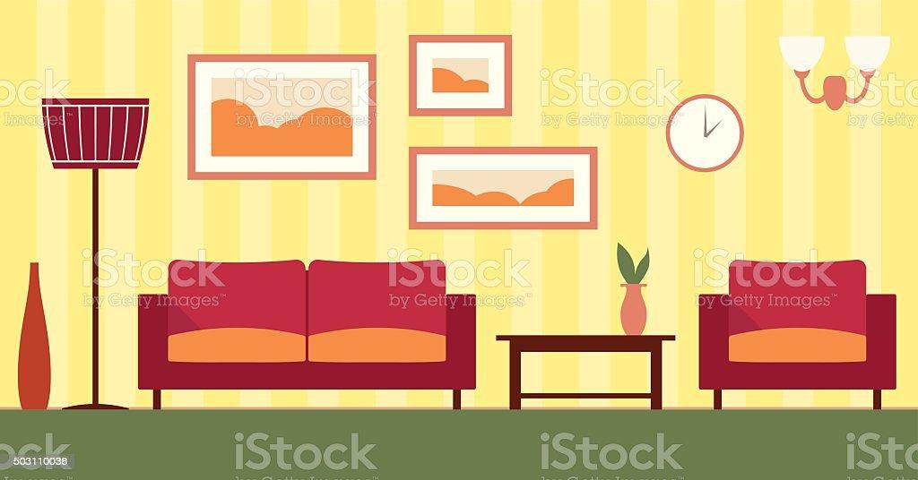 Vektor Farbe Einrichtung Von Comic Wohnzimmer Illustration EPS