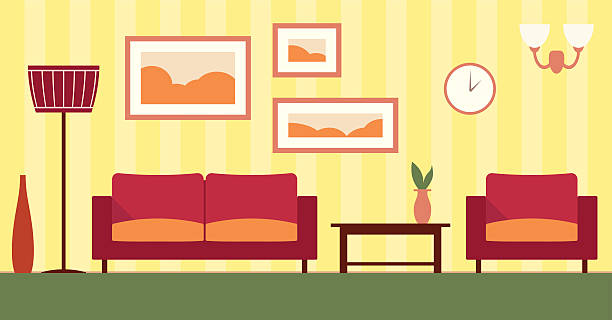 Vector Color Interior Of Cartoon Living Room Illustration EPS 10 Art
