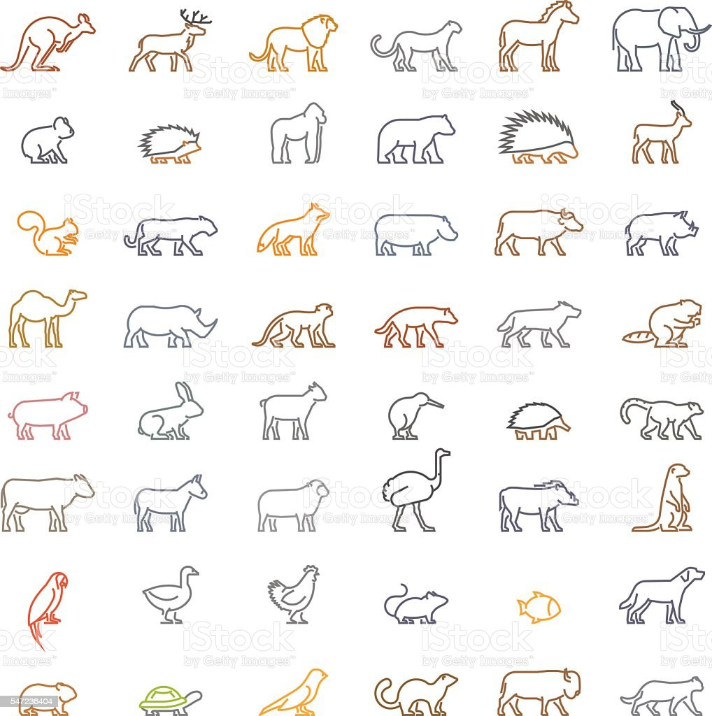 Vector color line set of silhouettes of animals vector art illustration