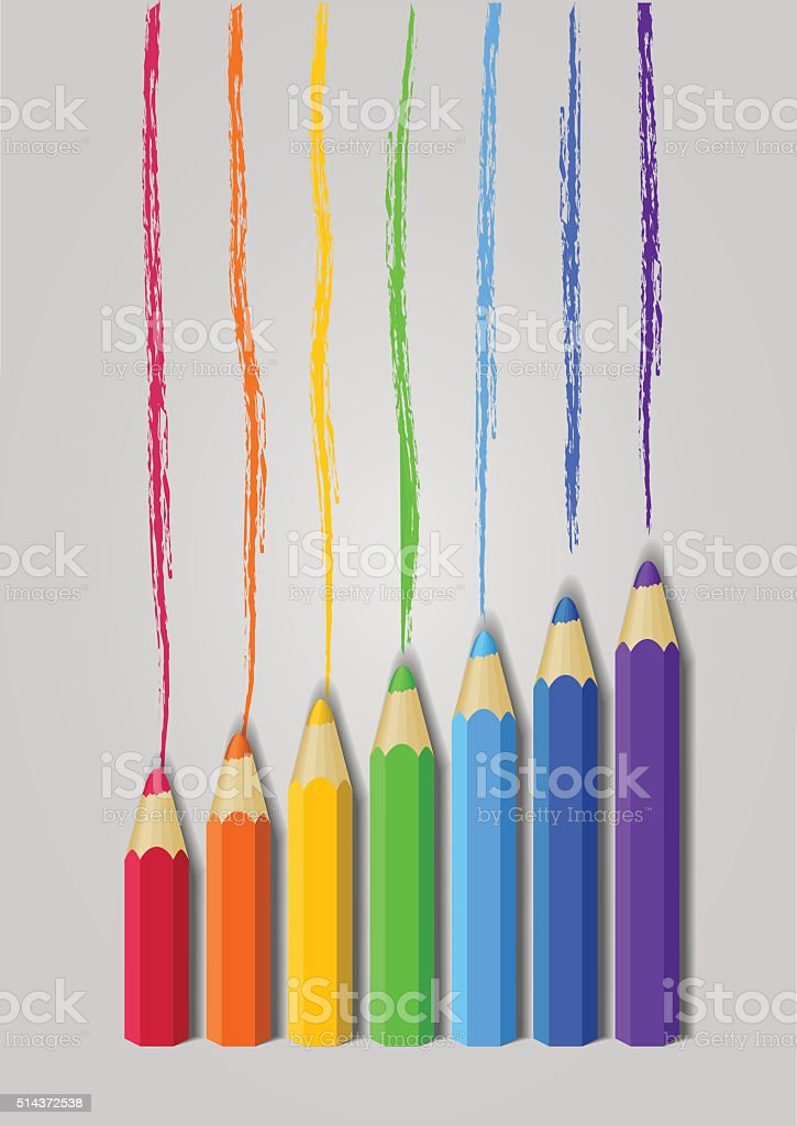 Vector color pencils in a raw vector art illustration