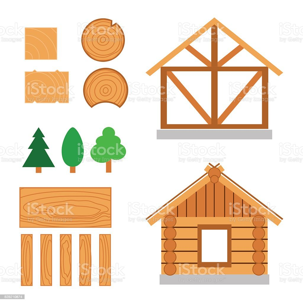 Vector color set of wood house tip and  constuction material vector art illustration