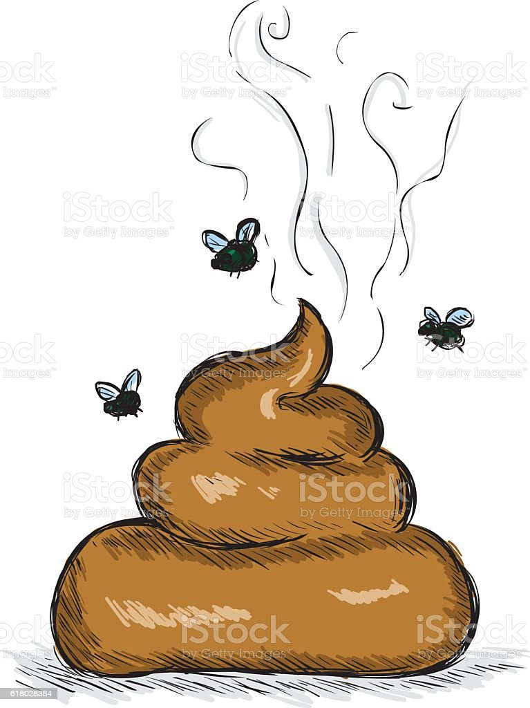 Vector Color Sketch Illustration - Pile of Shit with Flies vector art illustration