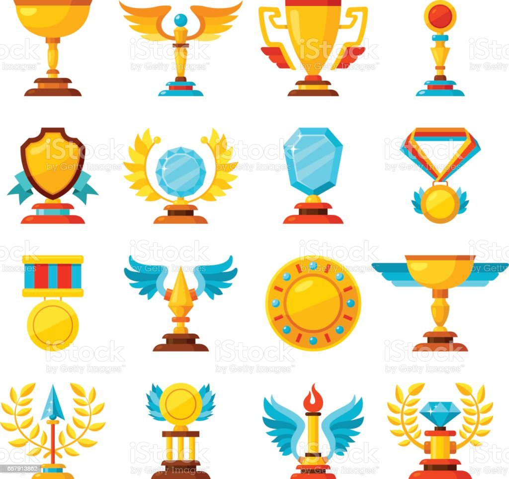 vector color trophy and awards icons set on white vector art illustration