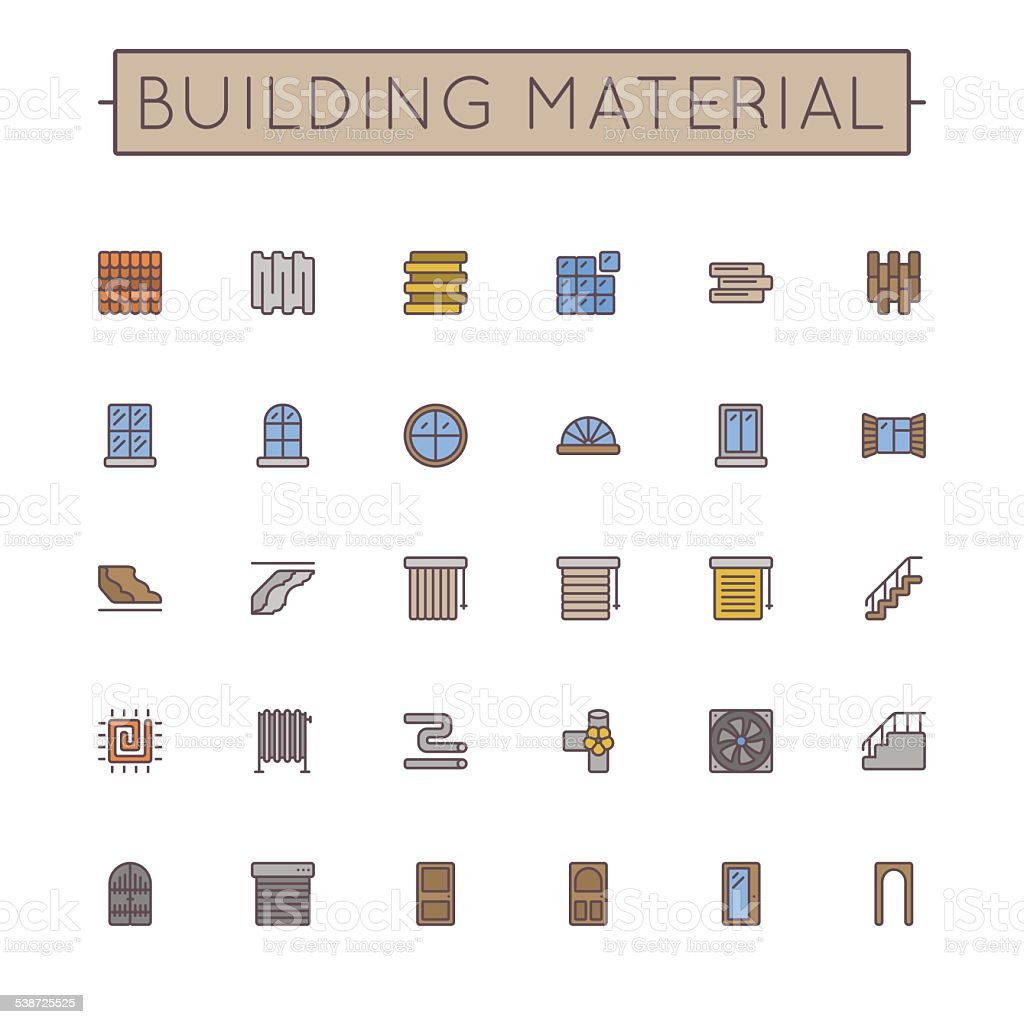 Vector Colored Building Material Line Icons vector art illustration