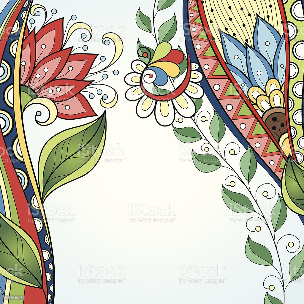 Vector Colored Floral Background. Hand Drawn Texture vector art illustration