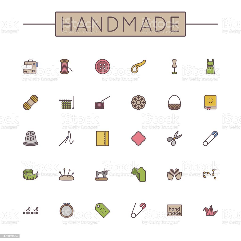 Vector Colored Handmade Line Icons vector art illustration