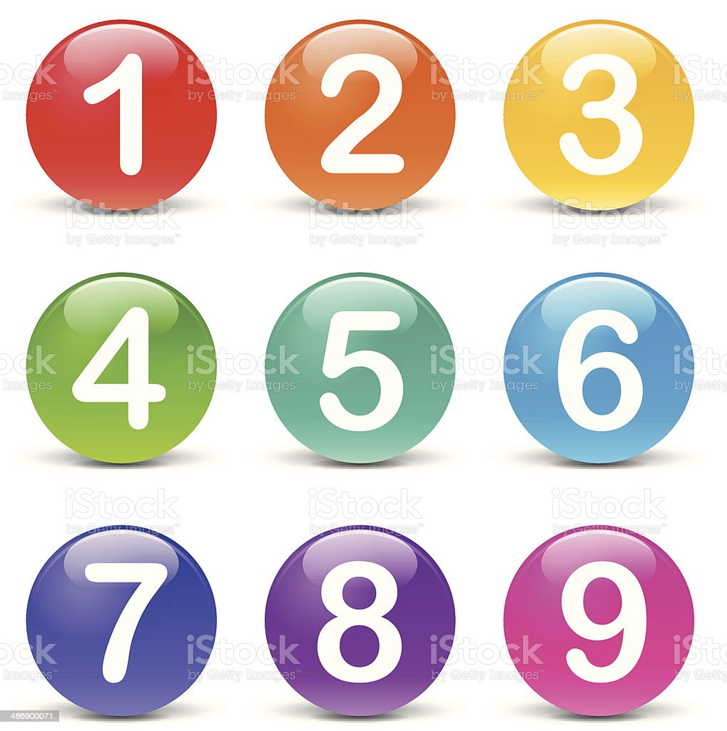 Vector colored numbers icons vector art illustration