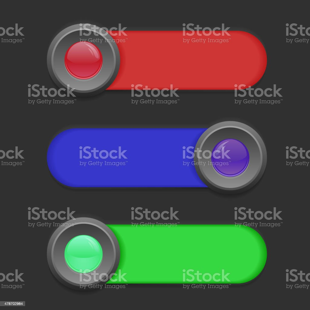 Vector Colored Switches vector art illustration