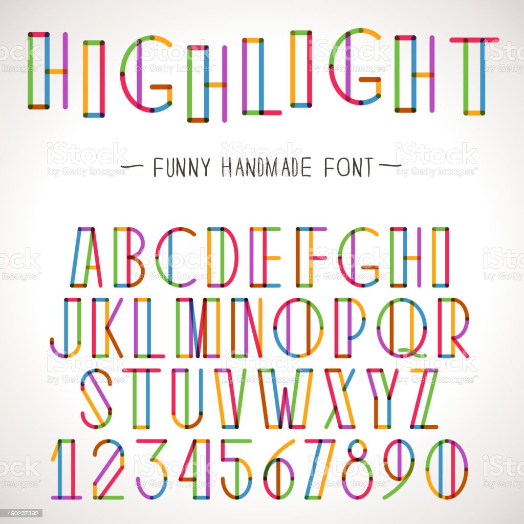Vector Colorful Alphabet with highlighter lines vector art illustration