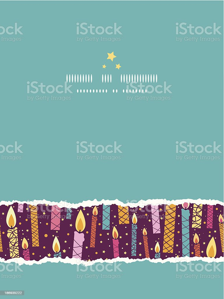 Vector colorful birthday candles vertical torn seamless pattern background royalty-free stock vector art