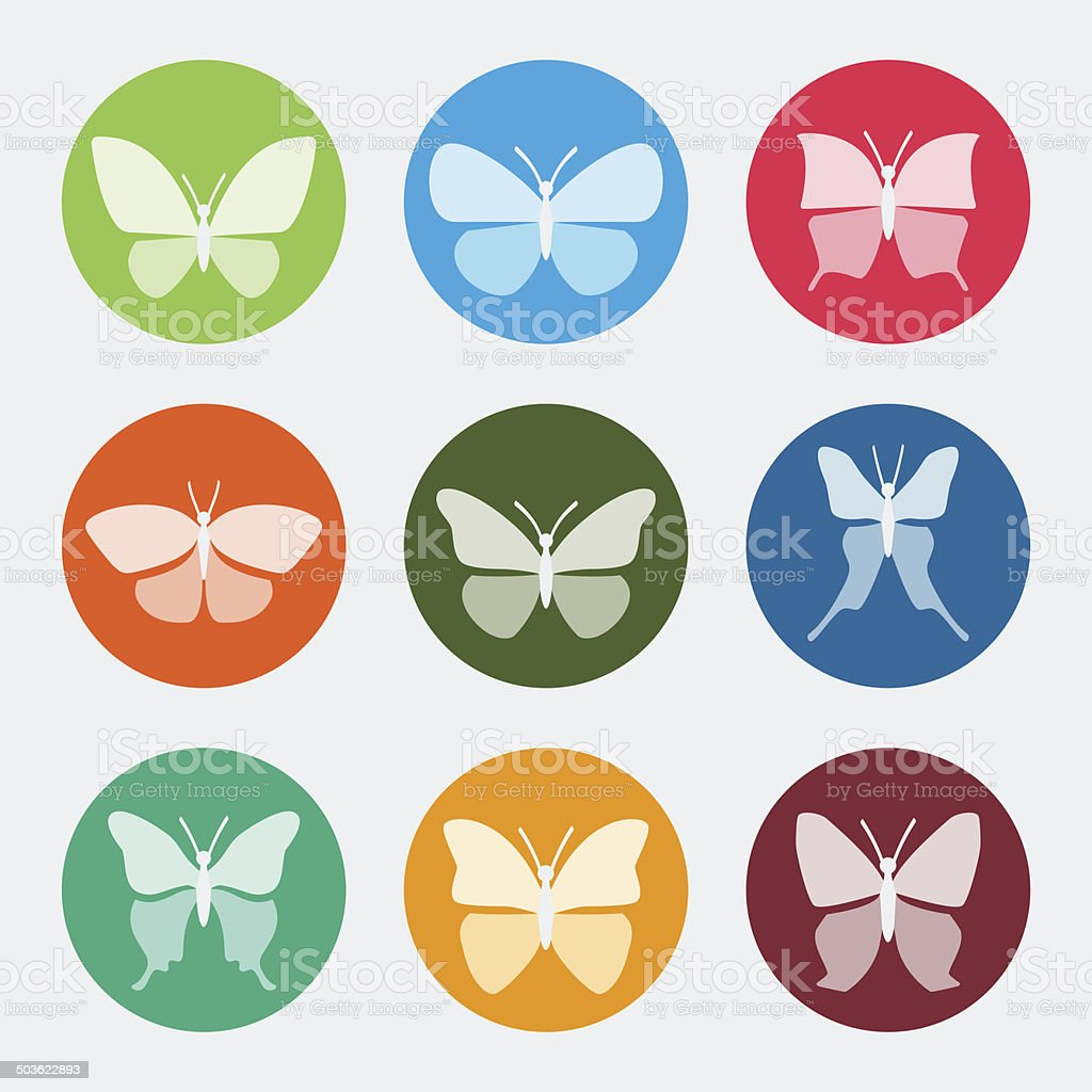 Vector colorful butterflies icons set vector art illustration