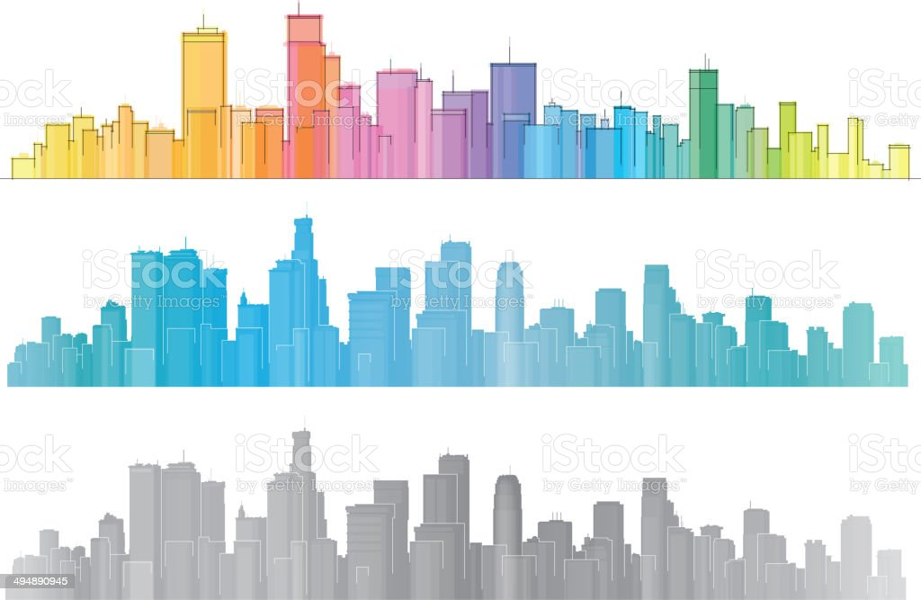 Vector colorful cities. vector art illustration