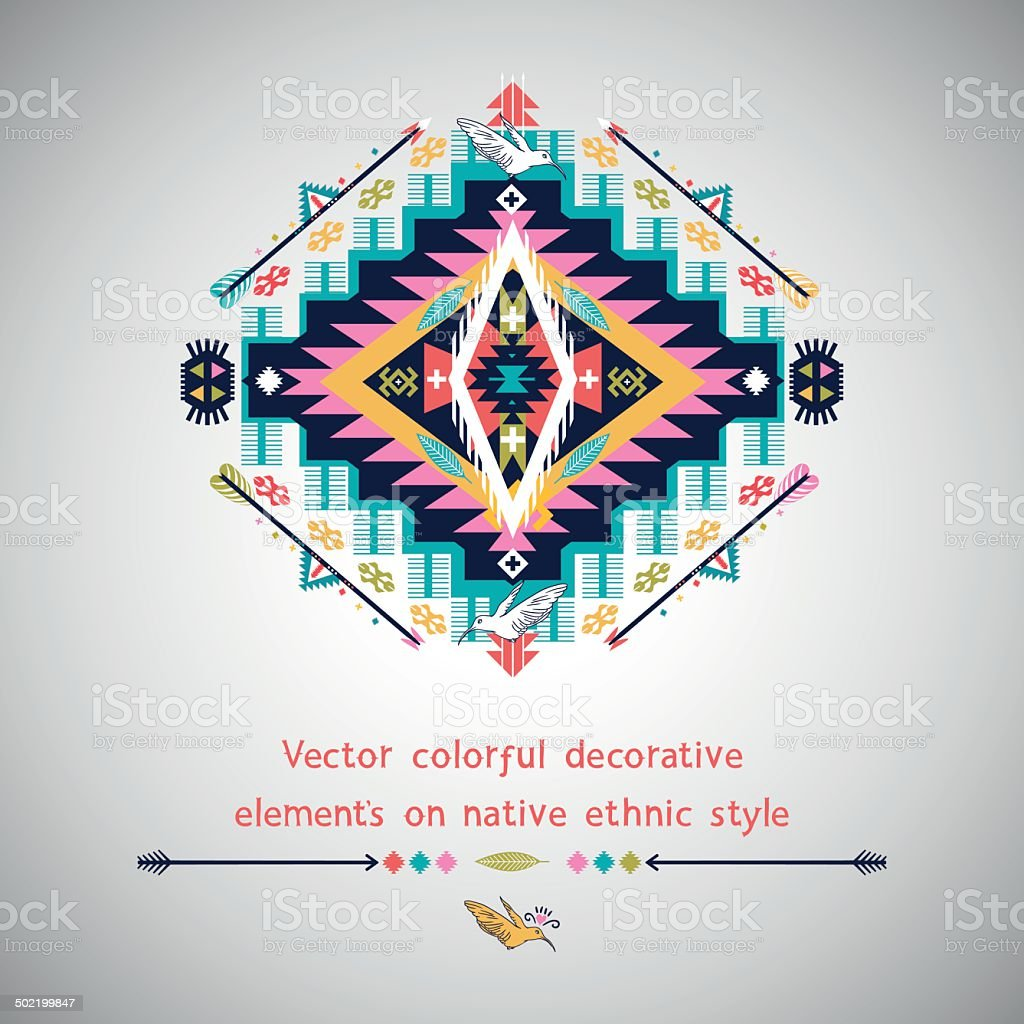 Vector colorful decorative element on native ethnic style vector art illustration