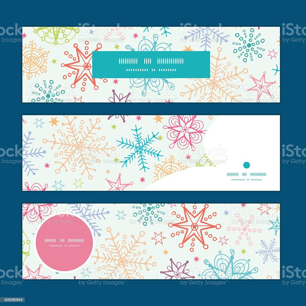 Vector colorful doodle snowflakes horizontal banners set pattern background vector art illustration