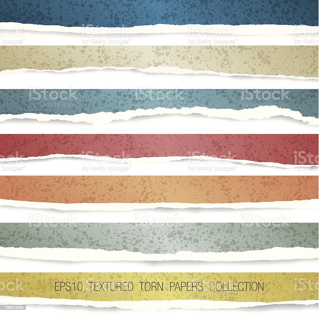 vector colorful end textured torn papers collection vector art illustration