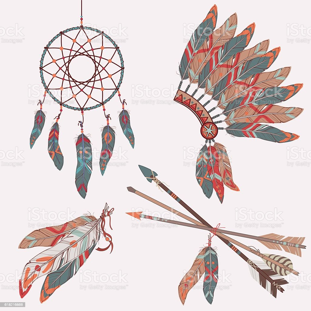 Vector colorful ethnic set with dream catcher, feathers, arrows vector art illustration