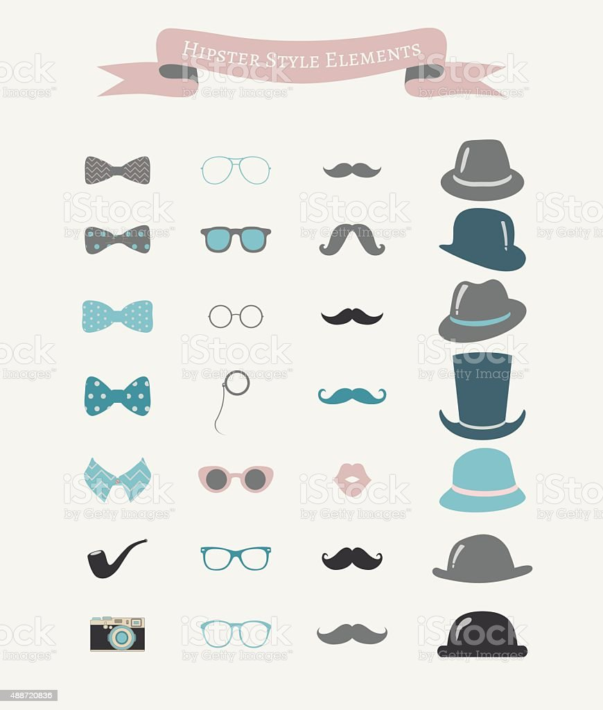 Vector Colorful Fashion Hipster Retro Vintage Icon Set vector art illustration