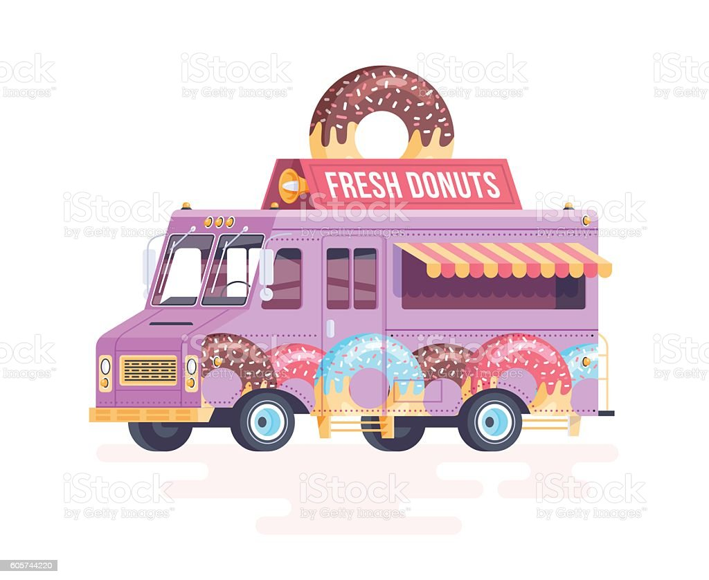 Vector colorful flat donut truck. Isolated on white background. vector art illustration