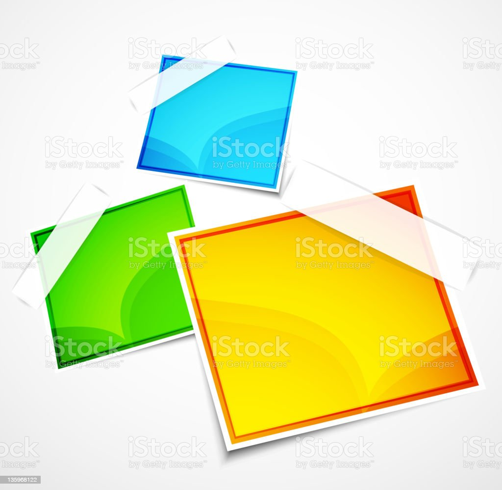 Vector colorful glossy labels with sticky tape royalty-free stock vector art
