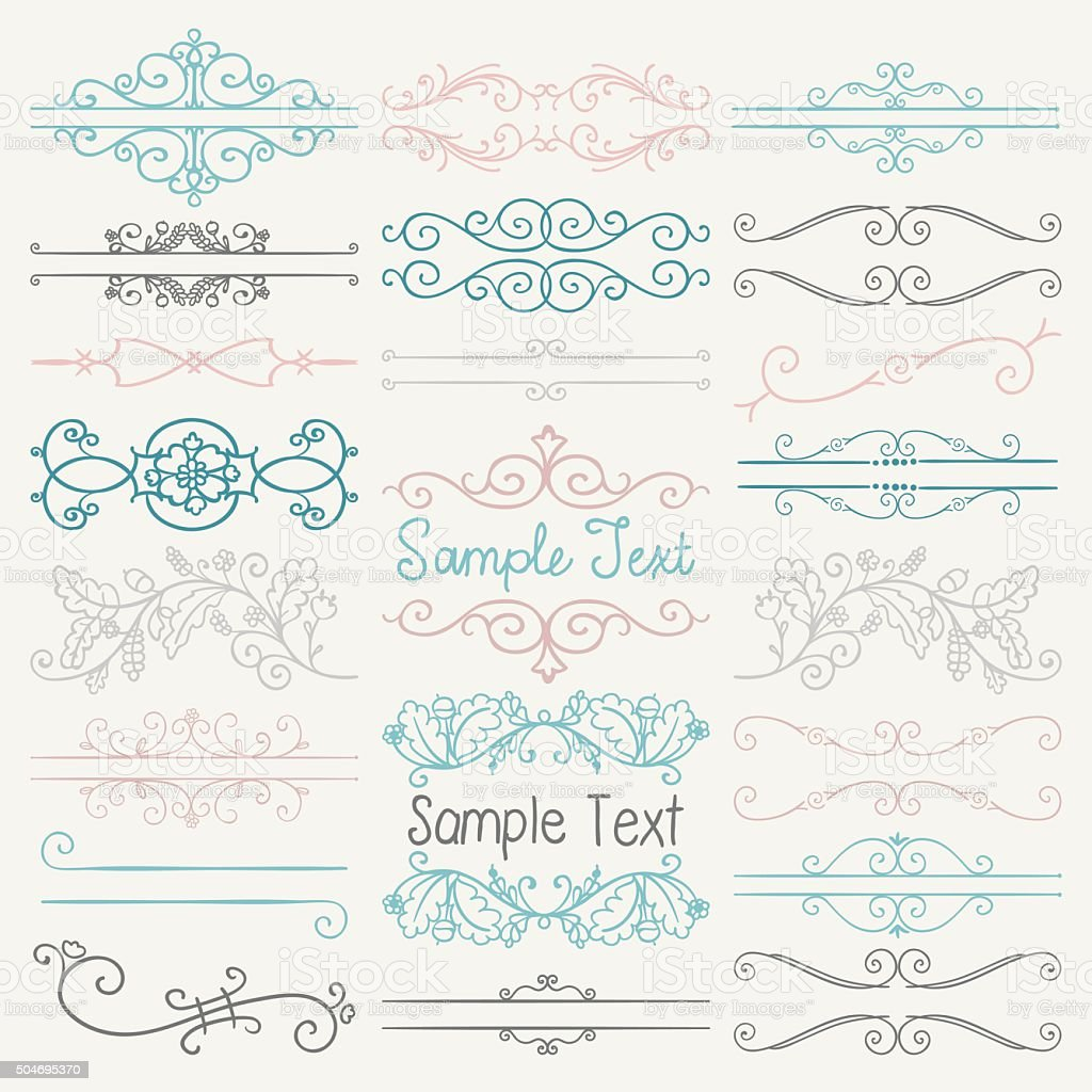 Vector Colorful Hand Drawn Dividers, Frames, Swirls vector art illustration