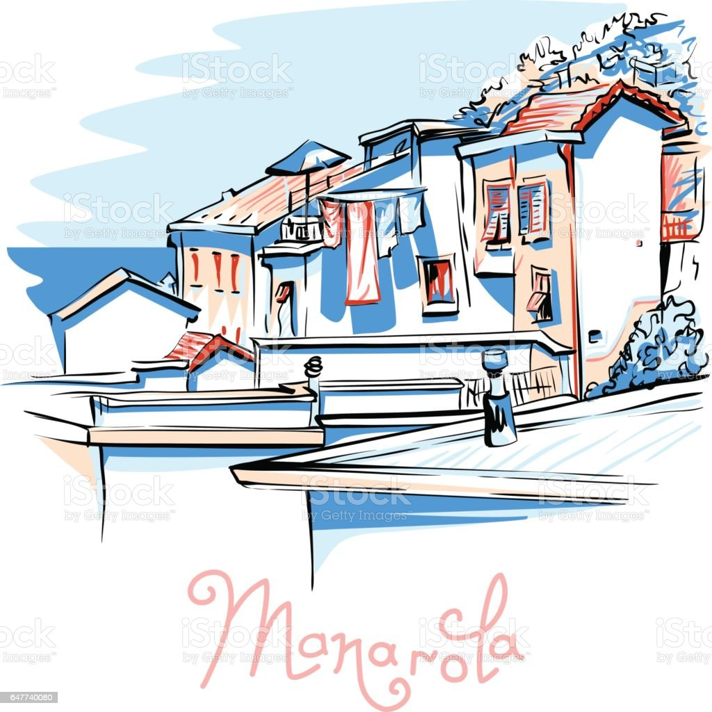 Vector colorful houses in Manarola, Ligury, Italy vector art illustration