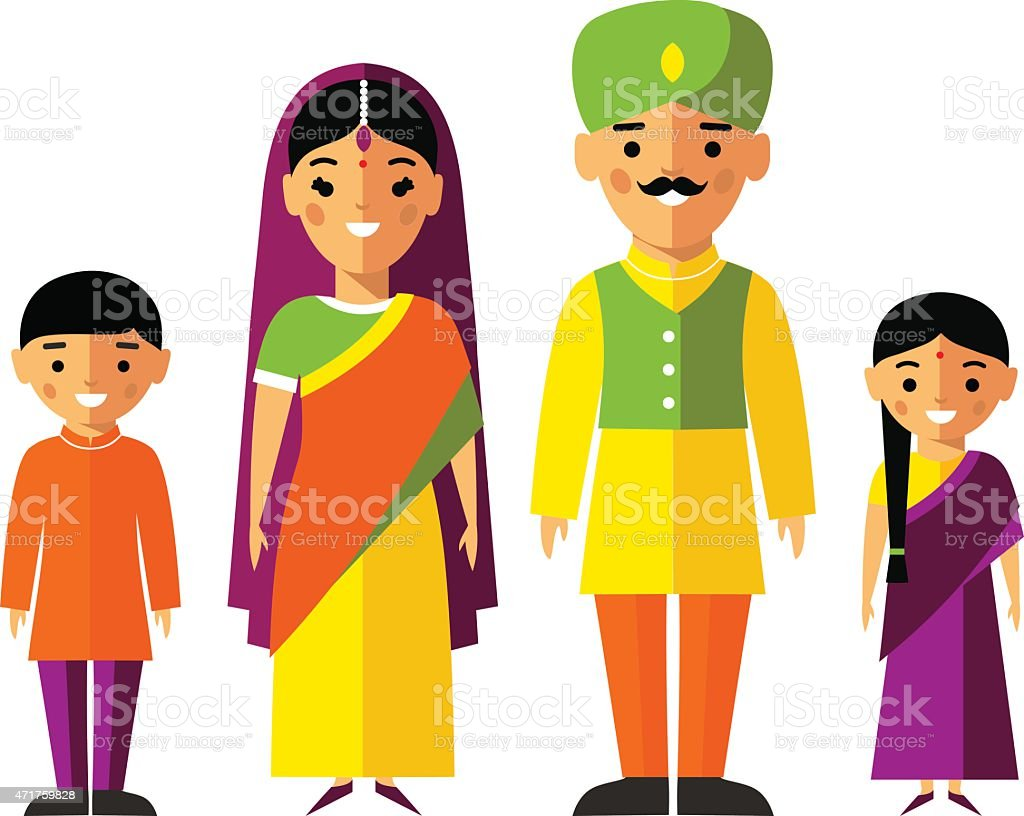 Vector colorful illustration of indian  family in national clothes vector art illustration