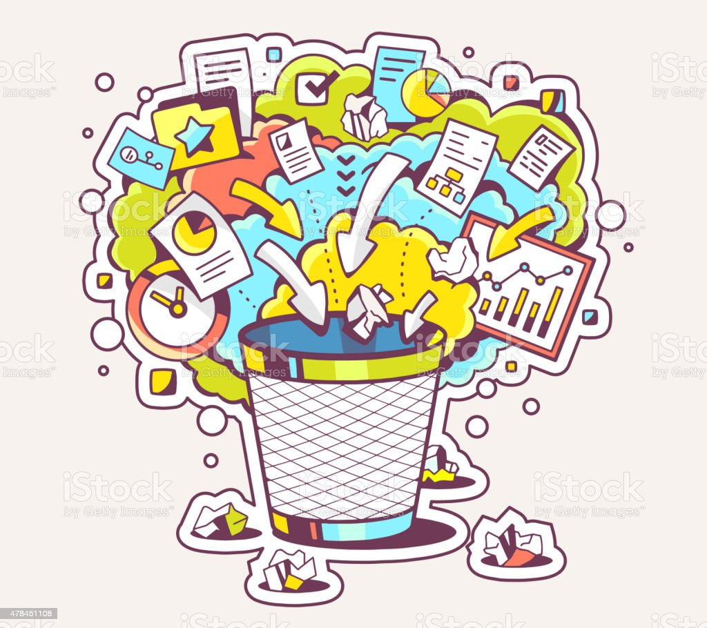 Vector colorful illustration of office trash can and documents vector art illustration