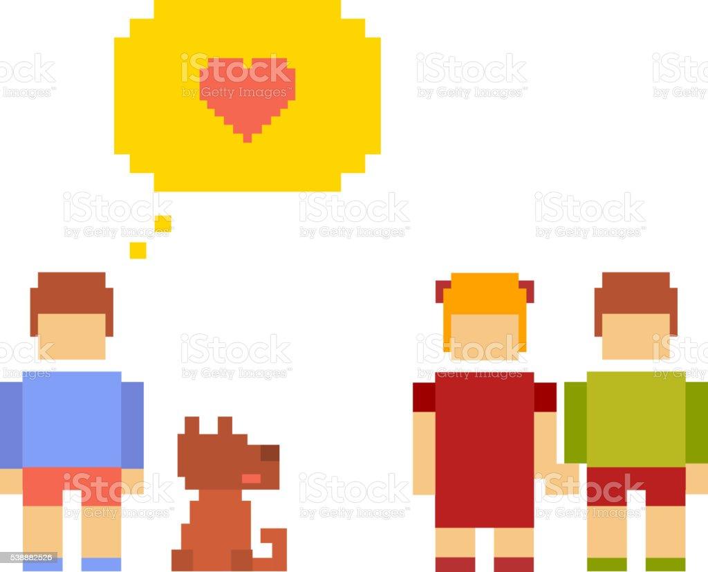 Vector colorful illustration of small girl, boy, dog happy vector art illustration
