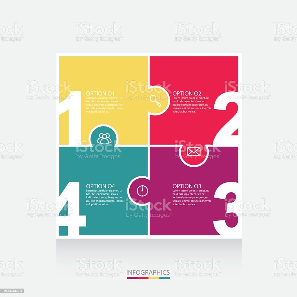 Vector colorful puzzle info graphics for your presentations royalty-free stock vector art